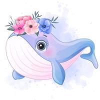 baleia pequena fofa com ilustração em aquarela vetor
