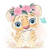 pequeno tigre fofo com ilustração em aquarela vetor