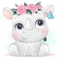 pequeno rinoceronte fofo com ilustração em aquarela vetor