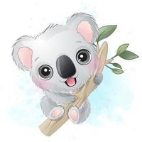 ilustração de retrato de urso coala fofo vetor