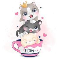 gatinhos fofos com ilustração de efeito aquarela