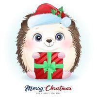 ouriço doodle fofo para o dia de Natal com ilustração em aquarela vetor