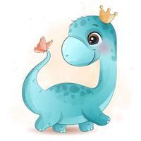 dinossauro fofo brincando com ilustração de borboleta vetor