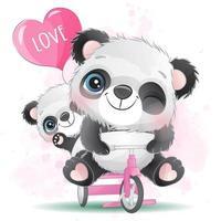 pequeno panda fofo com ilustração em aquarela vetor