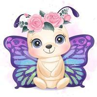 borboleta pequena fofa com ilustração em aquarela vetor