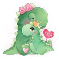 Ilustração de mãe e bebê dinossauro fofa vetor