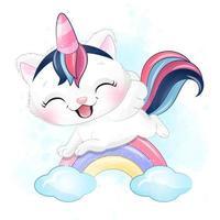 gatinho fofo voando no arco-íris com ilustração em aquarela vetor
