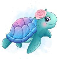 linda tartaruga marinha com ilustração em aquarela vetor