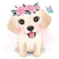 golden retriever fofo com ilustração floral vetor