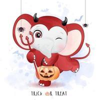 elefante fofo para o dia das bruxas com ilustração em aquarela vetor