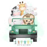 animaizinhos fofos dirigindo um carro com ilustração em aquarela vetor
