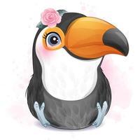 passarinho adorável com ilustração em aquarela vetor