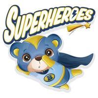 urso super-herói fofo com ilustração em aquarela vetor
