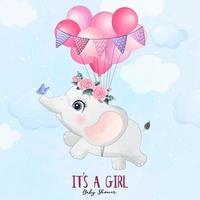 elefante bebê fofo voando com ilustração de balão vetor