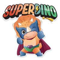super dinossauro fofo com ilustração em aquarela vetor