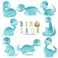 dinossauro fofo posa com ilustração em aquarela vetor