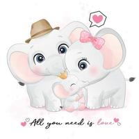 Família de elefantinhos fofos com ilustração em aquarela vetor