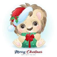Leão fofo doodle para o dia de Natal com ilustração em aquarela vetor