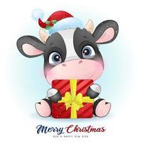 doodle fofo vaca para o dia de natal com ilustração em aquarela vetor