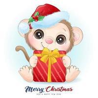 fofo doodle macaco para o dia de Natal com ilustração em aquarela vetor