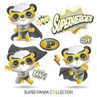 Panda super-herói fofo com coleção de aquarela vetor