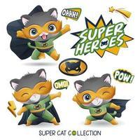 super gato fofo com ilustração em aquarela vetor