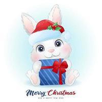 coelho fofo doodle para o dia de Natal com ilustração em aquarela vetor