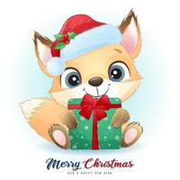 fofo doodle foxy para o dia de Natal com ilustração em aquarela vetor