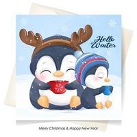 doodle pinguins fofos para o dia de natal com ilustração em aquarela vetor
