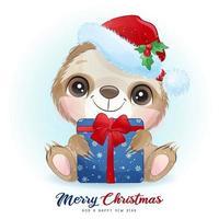doodle fofo preguiça para o dia de Natal com ilustração em aquarela vetor