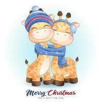 girafa doodle fofa para o dia de Natal com ilustração em aquarela vetor