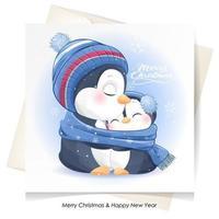 doodle pinguim fofo para o natal com ilustração em aquarela vetor