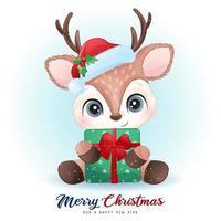 doodle fofo cervo no dia de natal com ilustração em aquarela vetor
