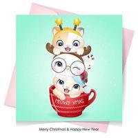 doodle gatinho fofo para o dia de Natal com ilustração em aquarela vetor