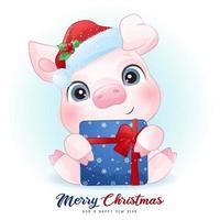 fofo doodle porco para o dia de Natal com ilustração em aquarela vetor