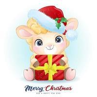 doodle fofo ovelha para o dia de Natal com ilustração em aquarela vetor