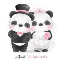 Doodle fofo panda com roupas de casamento para o dia dos namorados vetor