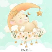 leão doodle fofo com ilustração floral vetor