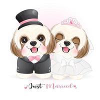 Cachorros fofos com roupas de casamento vetor