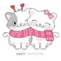 casal fofo doodle gatinho para ilustração de dia dos namorados vetor