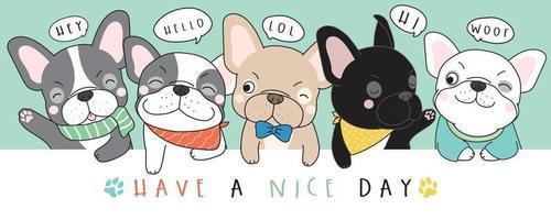 ilustração de bulldog francês doodle fofo vetor