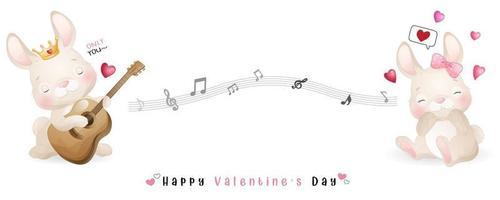 coelhinho fofo doodle para coleção de dia dos namorados vetor