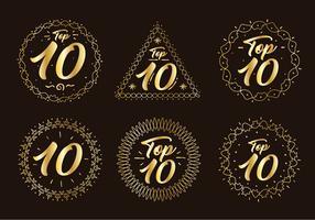 Vetor de número de gráfico superior dourado