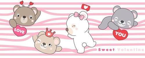 desenho fofo urso para ilustração de dia dos namorados vetor
