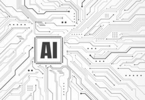 chipset de inteligência artificial na placa de circuito em arte de tecnologia de conceito futurista para web, banner, cartão, capa. ilustração vetorial