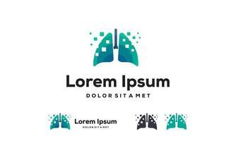 pulmões digitais, conceito de projetos de logotipo de pulmões de pixel, conceito de design, logotipo, elemento de logotipo para modelo