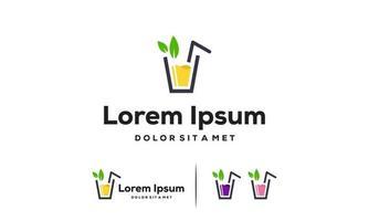 Vetor de conceito de design de logotipo de suco fresco, símbolo de logotipo de bebida doce