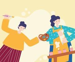 atividades pessoais, mulheres assando cupcakes e pintando vetor