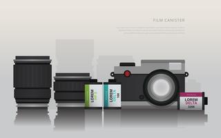 Câmera de filme canister e lente vetor