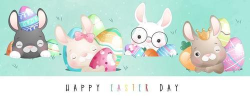 Ilustração de coelho fofinho para feliz dia de páscoa vetor